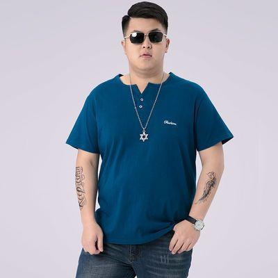 2020新款短袖夏季短袖T恤加肥加大码男装经典纯棉半袖肥佬宽松休