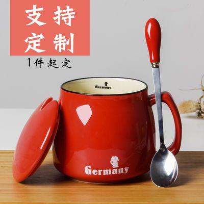 创意早餐杯陶瓷杯简约马克杯子带盖勺牛奶杯情侣水杯办公室咖啡杯