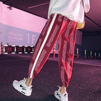 19SS国潮街头嘻哈裤子男女韩版九分休闲裤男束脚哈伦裤ins运动裤