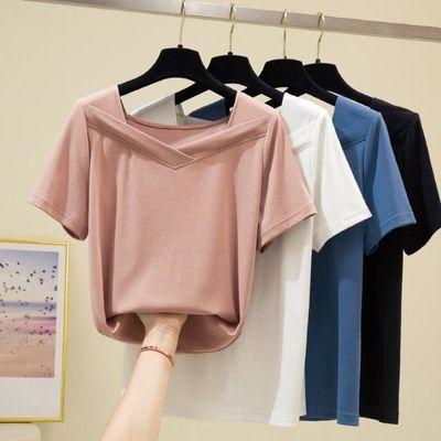 挂拍实拍2020夏装简约韩版纯色方领显瘦高弹短袖女士T恤上衣