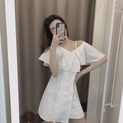 白色露肩吊带气质连衣裙女夏女神范仙甜美法式初恋性感约会小裙子