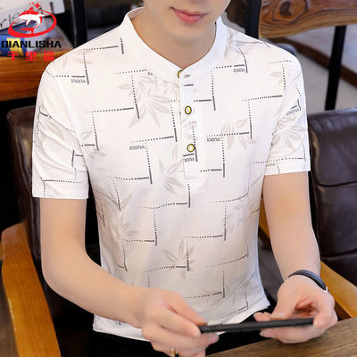 【千里鲨】95%棉夏季男士短袖立领POLO衫韩版时尚潮流半袖T恤衫男