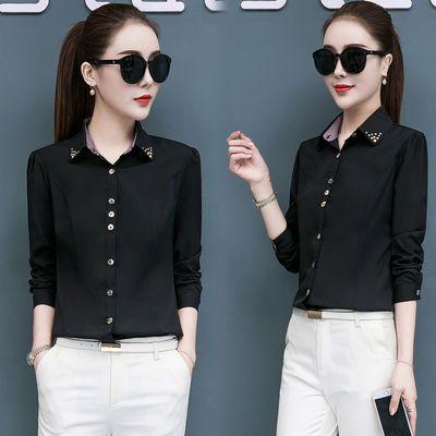 黑色衬衫女韩版拼色格子长袖春秋职业装工作服上衣修身显瘦打底衫