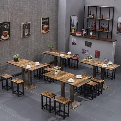 快餐桌椅组合小吃经济型复古火锅餐厅桌子饭店面馆食堂大排档桌椅