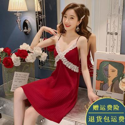 睡衣女夏季纯棉新款宽松薄款大码吊带睡裙性感V领诱惑蕾丝短裙子