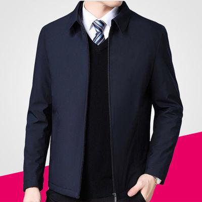 中年男士夹克春夏薄款外套爸爸装商务休闲春季中老年男装翻领上衣