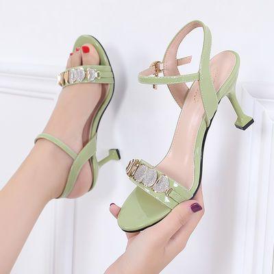 正品创美琪真皮高跟鞋女夏季细跟新款学生韩版性感百搭仙女风凉鞋