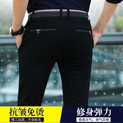 【弹力抗皱不粘毛】夏季薄款男士商务休闲裤韩版修身直筒裤子西裤