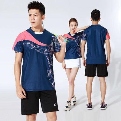 韩版羽毛球服男女套装速干短袖球衣透气乒乓球排球比赛运动服印字