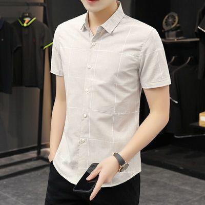 2020夏季新款格子衬衫男短袖韩版修身百搭潮流休闲男装男士衬衣男