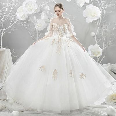 婚纱礼服2019新款春季拖尾韩版公主梦幻显瘦森系旅拍新娘婚纱简约