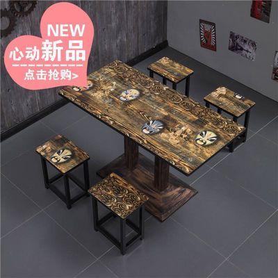 复古简易小吃店快餐桌椅组合奶茶店经济型面馆餐厅食堂方桌子包邮