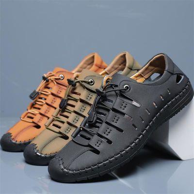 夏季凉鞋男士镂空洞洞鞋真牛皮鞋户外防滑男鞋休闲鞋子男韩版潮流