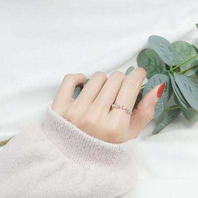 纯银开口少女心闺蜜同款银戒指女ins韩版学生简约社会网红女潮