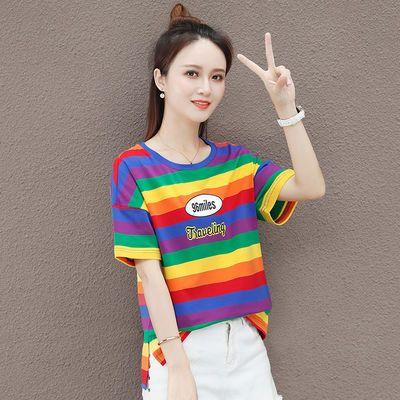 抖音爆款条纹短袖t恤女2020年夏季新款学生宽松泫雅彩虹上衣ins潮