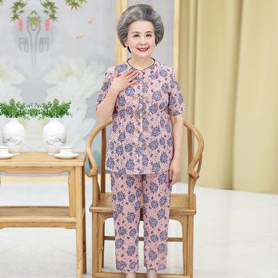2018新款中老年女装60-80岁奶奶短袖套装妈妈夏季七分袖太太衣服