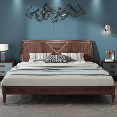 北欧实木床1.8米1.5m双人床现代简约轻奢白蜡木床高箱储物床婚床