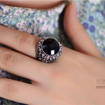 欧美大气复古银镶钻个性食指戒指女中指潮夸张黑宝石指环日韩饰品