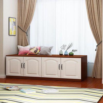 飘窗柜简约欧式矮柜地柜可坐窗台柜订做翻盖柜收纳柜子阳台储物柜
