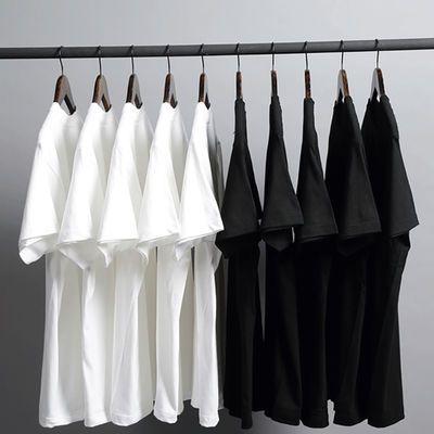 纯棉韩版纯色修身男士短袖圆领t恤黑白灰打底衫宽松时尚潮男女款