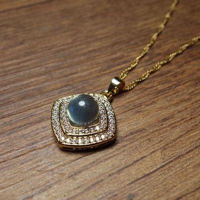 天然月光石套装吊坠项链戒指豪镶925银活口不掉色冰透宝石女款