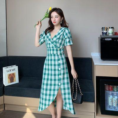 大码女装法式复古气质文艺格子不规则下摆翻领西装连衣裙夏桔梗裙