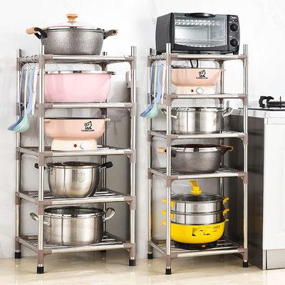 【加粗钢管】厨房不锈钢多功能置物架收纳架锅架面盆架微波炉支架