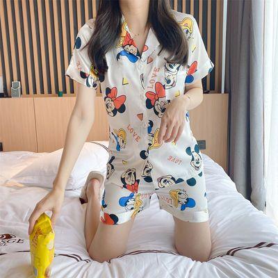 冰丝睡衣女夏季短袖仿真丝绸薄款学生韩版开衫甜美性感可爱家居服