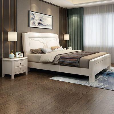 实木床现代简约高箱储物床1.5米经济型1.8米双人床现代中式婚床白
