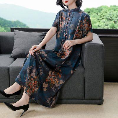 香云纱真丝连衣裙桑蚕丝旗袍裙年轻款时尚高贵气质高档女夏季长裙