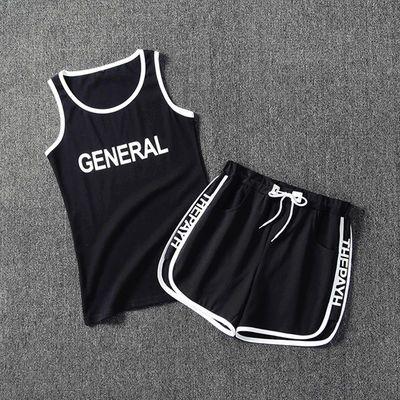 夏季男士背心短裤休闲运动套装时尚韩版无袖T恤短裤一套潮流男装