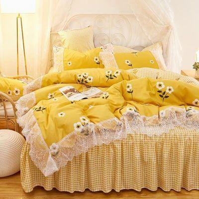 床单网红款小碎花床上用品四件套纯棉少女心床裙式公主风蕾丝被套