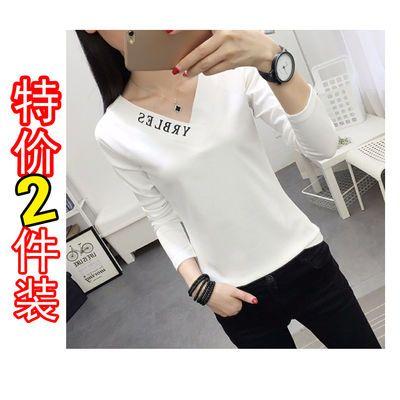 【仅亏三天】V领白色长袖t恤简约修身韩版纯色上衣大码女装打底衫