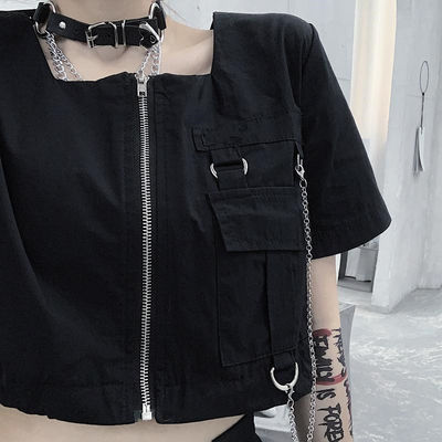 韩版ins暗黑拉链短款工装衬衫小众设计感女宽松方领露脐上衣夏潮