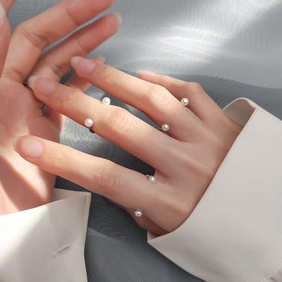 【买一送一】戒指女韩版学生简约小清新贝珠合成珍珠微笑开口戒指