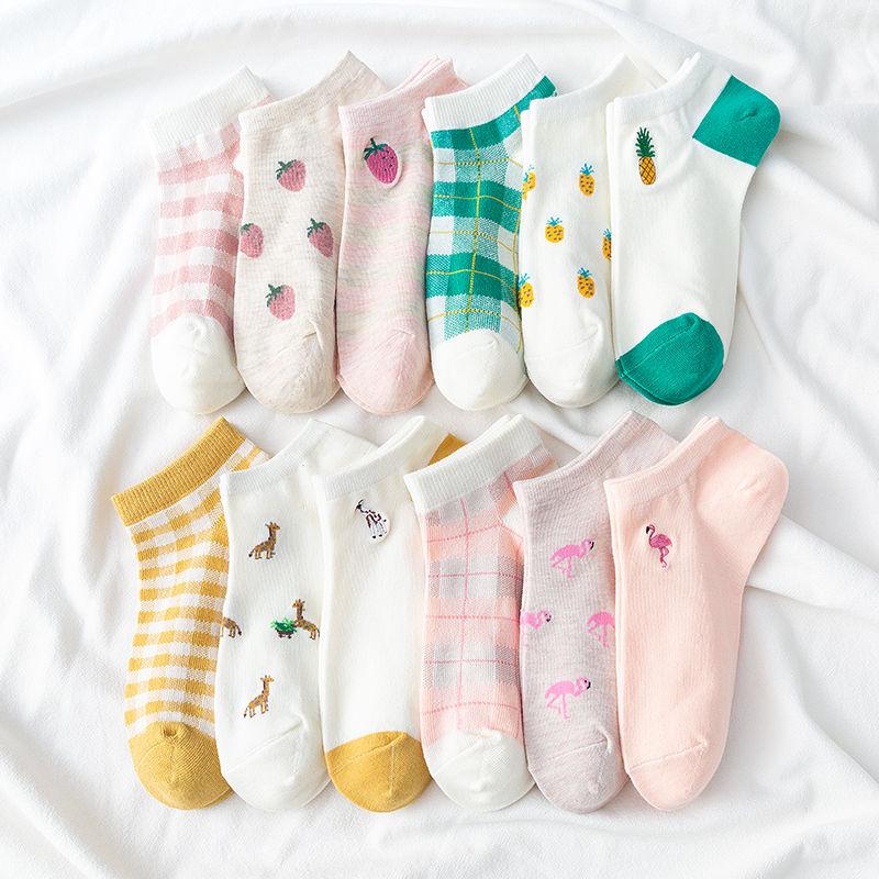 4双装袜子女短袜ins潮夏季纯棉浅口薄款隐形日系低帮卡通可爱春季