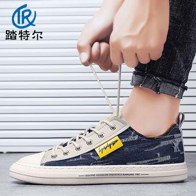男鞋春季新款帆布板鞋韩版潮流百搭男士休闲低帮布鞋夏季透气潮鞋