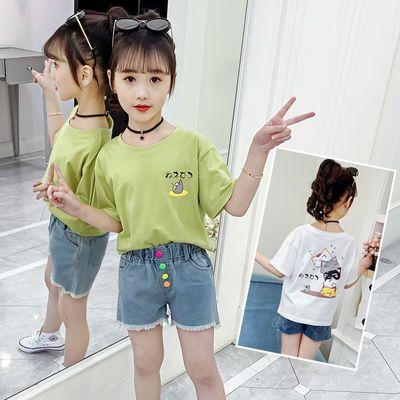 特色时尚短袖T恤女童2020夏季新款宽松休闲百搭小孩打底上衣潮ins