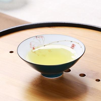 手绘茶杯陶瓷斗笠杯景德镇色釉单杯功夫茶具品茗杯茶杯普洱杯包邮