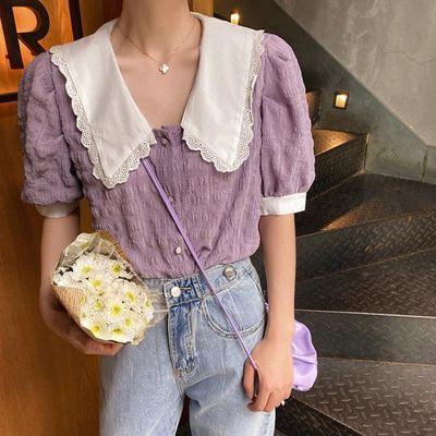 香芋紫雪纺衫女夏季短袖衬衫学生洋气小衫少女紫色泡泡袖上衣超仙