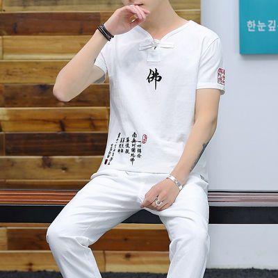短裤/九分裤套装男纯棉短袖T恤中国风大码休闲运动刺绣两件套装夏