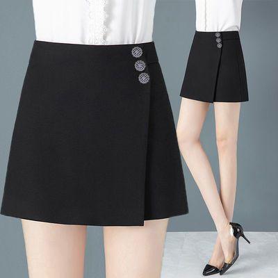 裤裙假两件2020新款春秋黑色大码显瘦高腰短裤女夏季宽松阔腿热裤