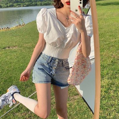 FREE VALLEY 韩版法式复古设计感心机小v领收腰显瘦上衣女
