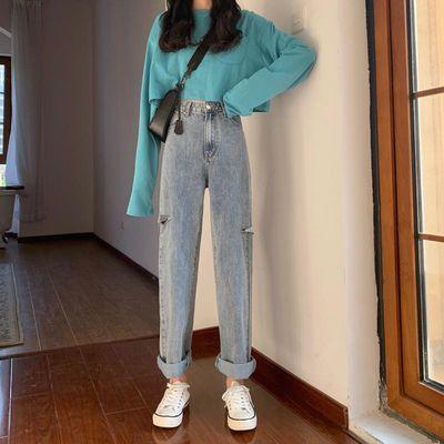 泫雅老爹裤2020浅蓝色水洗破洞阔腿牛仔裤女春装高腰宽松直筒长裤