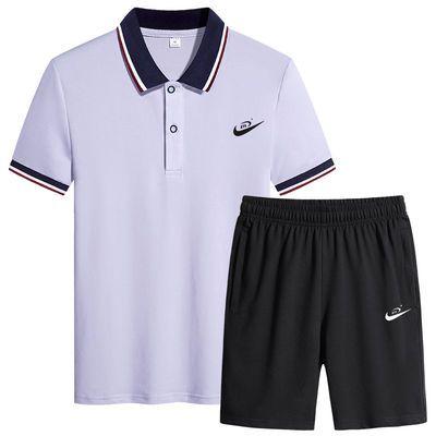 纯棉休闲套装男夏季运动套装胖子加大宽松短袖短裤运动服大码男装