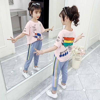 女童夏装套装2020新款网红洋气儿童装时髦小女孩夏季运动两件套潮