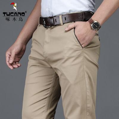 啄木鸟男士休闲裤2020夏季薄款纯棉冰丝宽松直筒裤子商务西裤男装