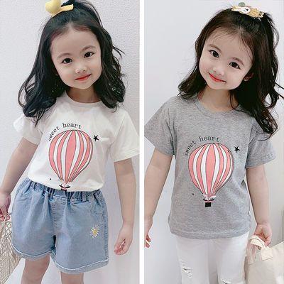 短袖T恤女童ins潮网红韩版2020夏季新款纯棉圆领童装特色卡通上衣