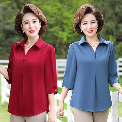 妈妈装2020新款夏装纯色时尚大码宽松T恤春中老年女装七分袖衬衫