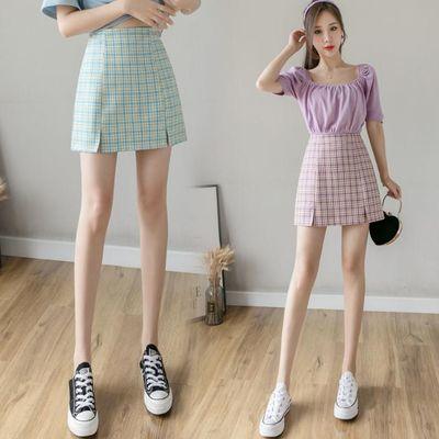 紫色格子半身裙女春2020夏季新款高腰bm风短裙显瘦开叉a字裙子